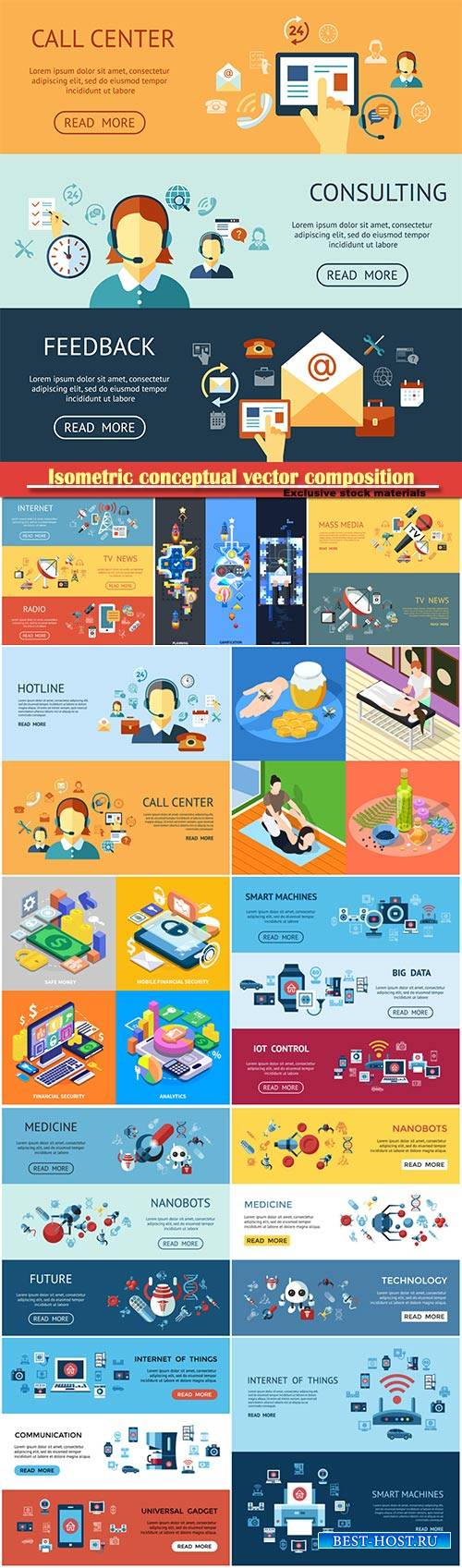 Isometric conceptual vector composition, infographics template, horizontal  ...