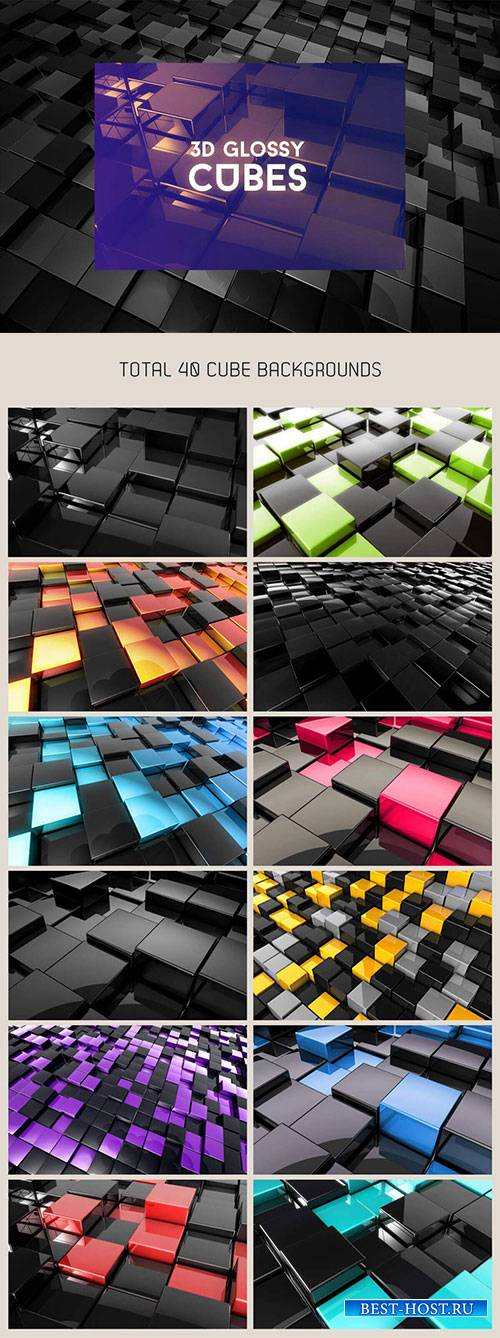 3D Glossy Cubes Background Pack