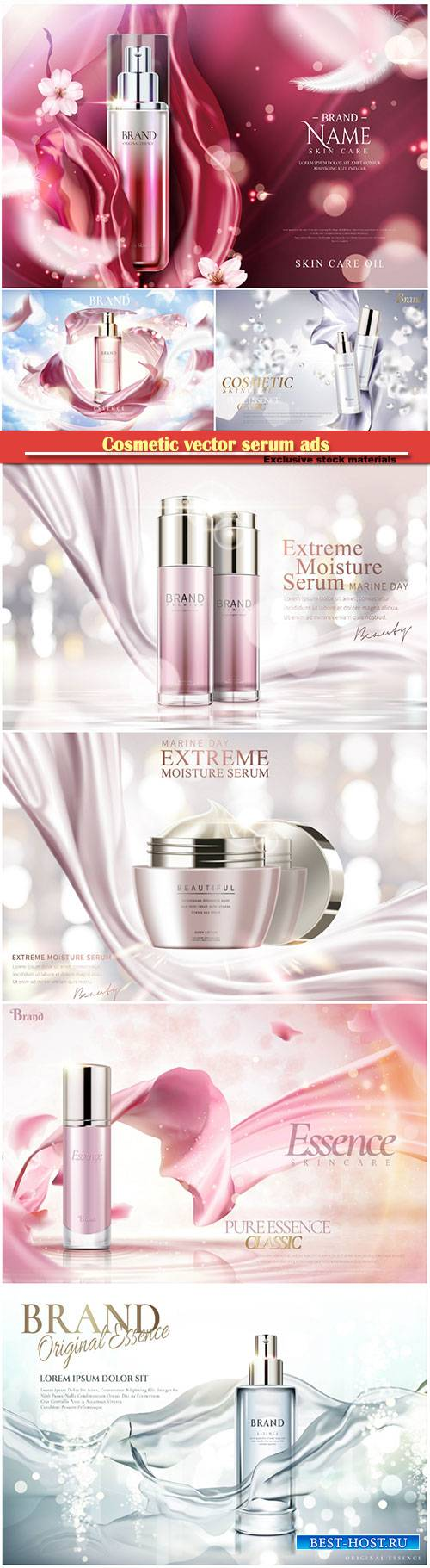 Cosmetic vector serum ads, cosmetic spray, cosmetic cream  in 3d illustrati ...