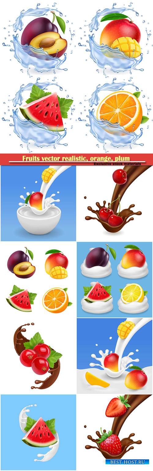 Fruits vector realistic, orange, plum, watermelon and mango set vector illu ...