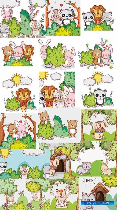 Звери в лесу - Вектор / Animals in the forest - Vector