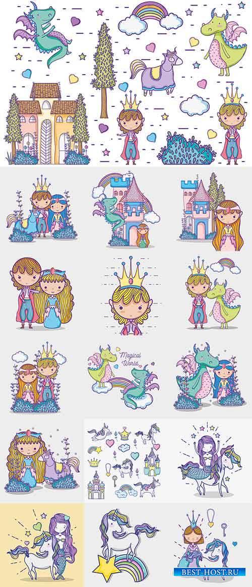 Волшебный мир маленькой принцессы - Вектор / The magical world of little pr ...