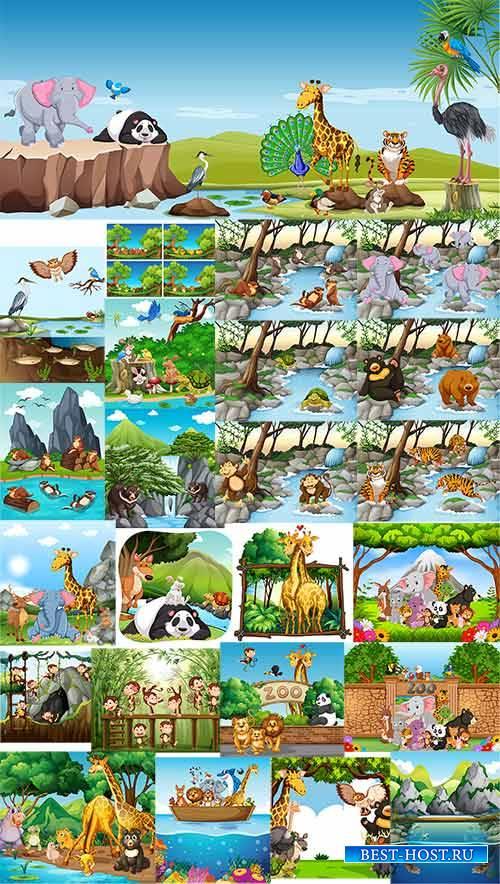 Животные в тропиках - Вектор детский / Animals in the tropics - Vector chil ...