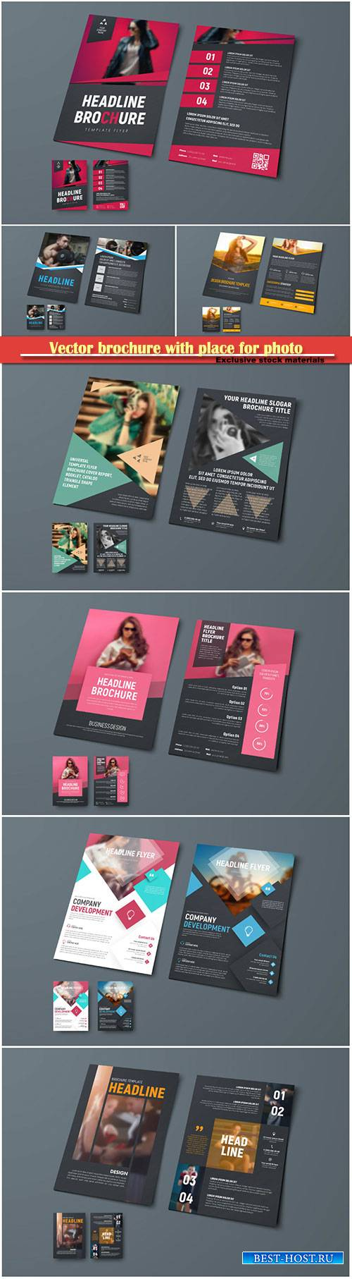 Vector template of brochure with place for photo, design flyer for business ...
