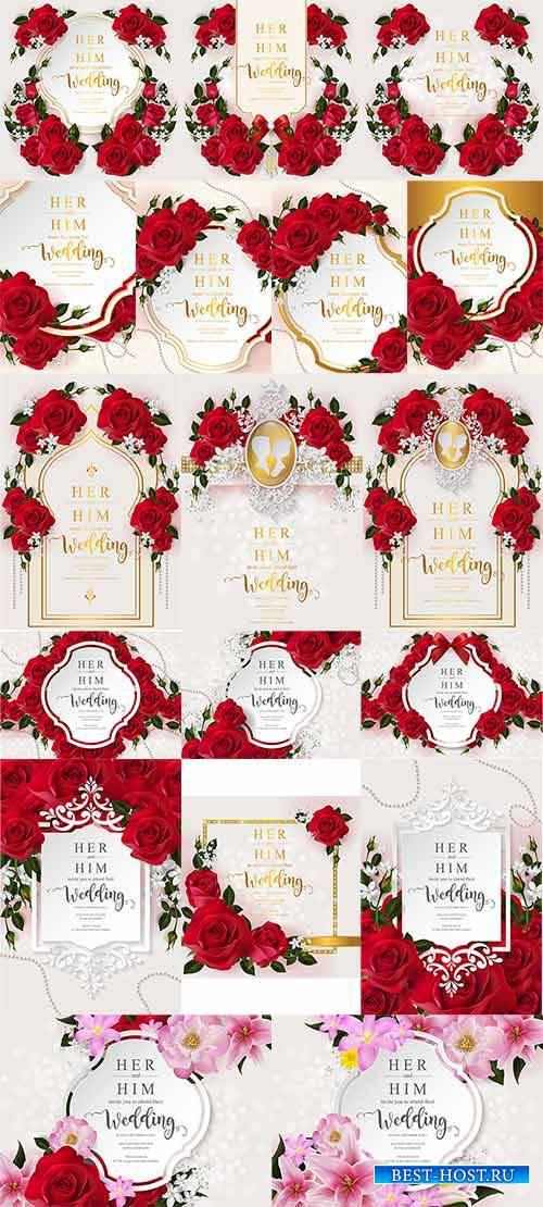 Свадебные приглашения с розами в векторе / Wedding invitation with roses in ...