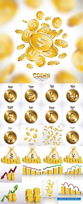 Золотые монеты в векторе / Gold coins in vector