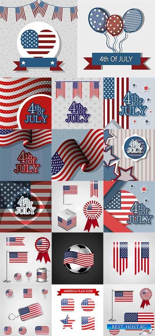 4 июля. Символика США - Векторный клипарт / 4th of July. USA Symbolics - Ve ...