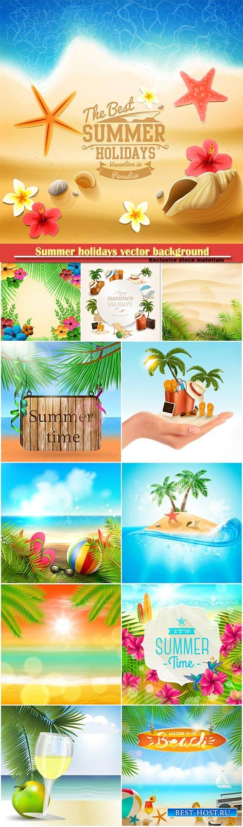 Summer holidays vector background, tropical beach, sea, fresh cocktails, sa ...