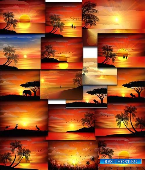 Природа на закате дня в векторе / Nature at sunset of the day in vector