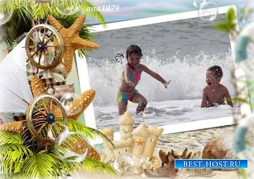 Рамка для фотошопа – Морская волна
