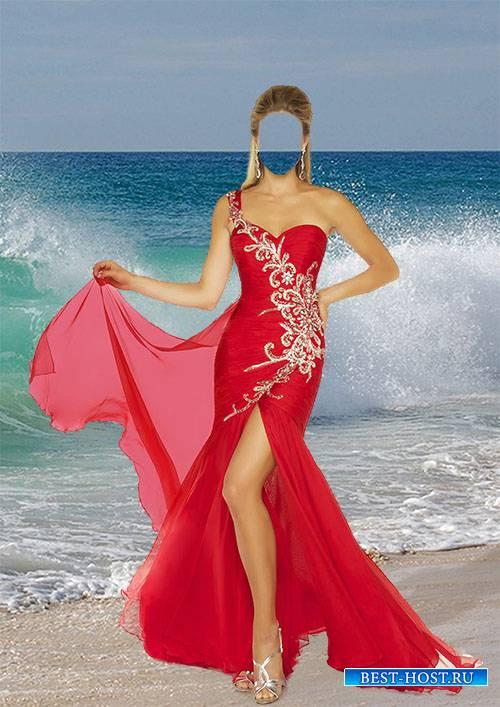 Девушка в красном платье - Женский фотошаблон