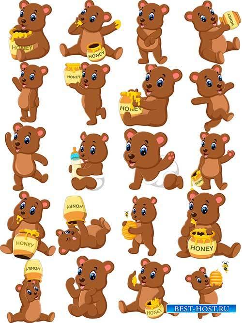 Мишки очень любят мёд - Вектор / Bears love honey - Vector