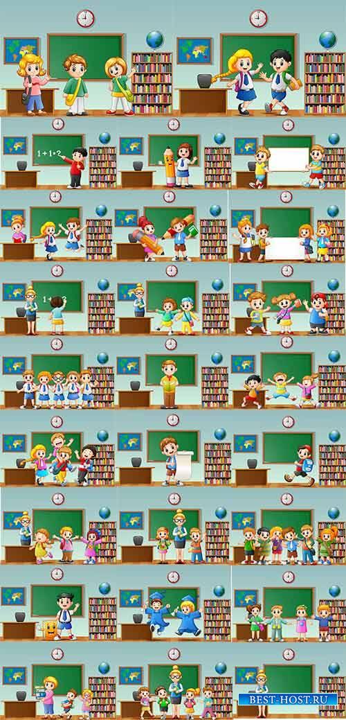 Ученики в классе - Векторный клипарт / Pupils in class - Vector Graphics