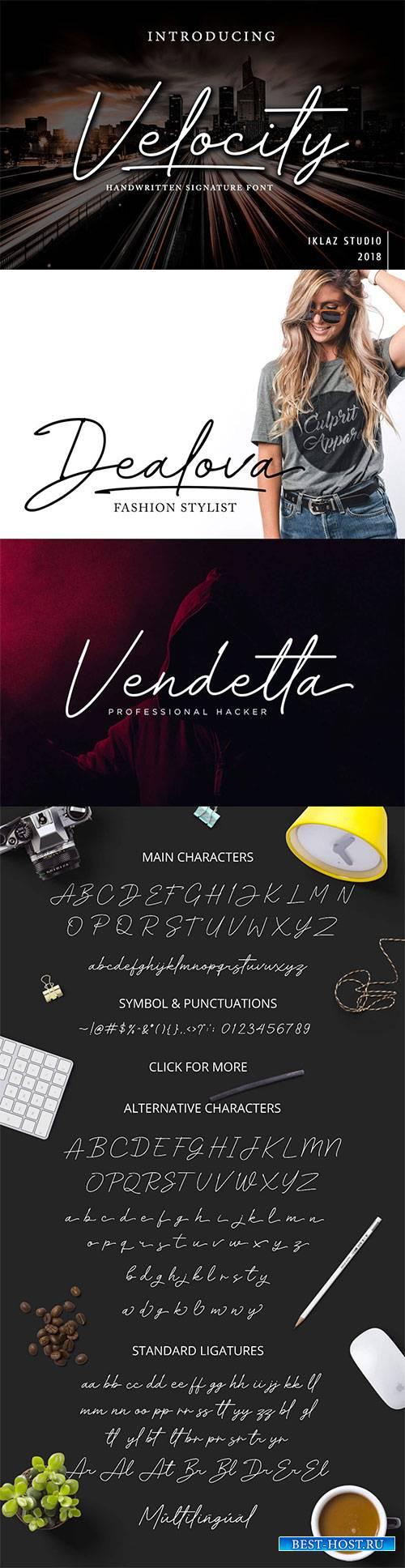 Velocity Handwritten Signature Font