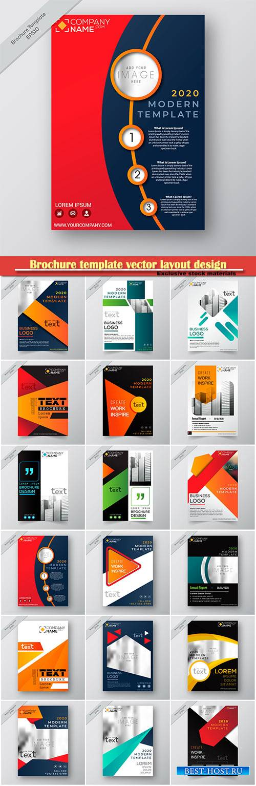 Brochure template vector layout design, corporate business annual report, magazine, flyer mockup # 218