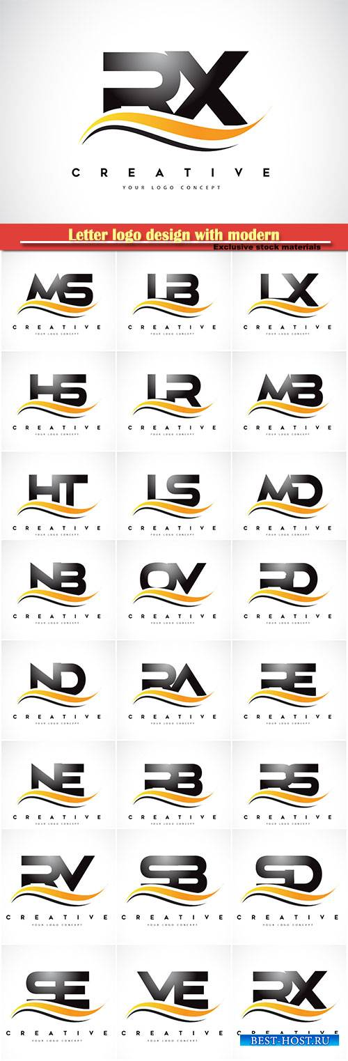 Letter logo design with modern yellow curved lines vector illustration