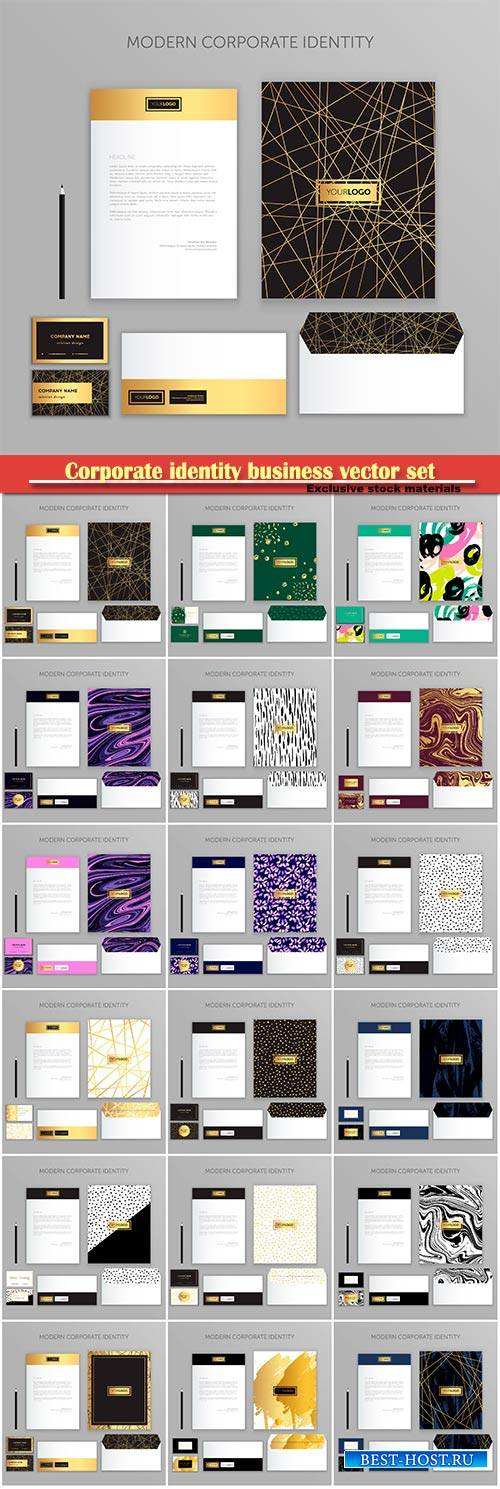 Corporate identity business vector set, modern stationery template design