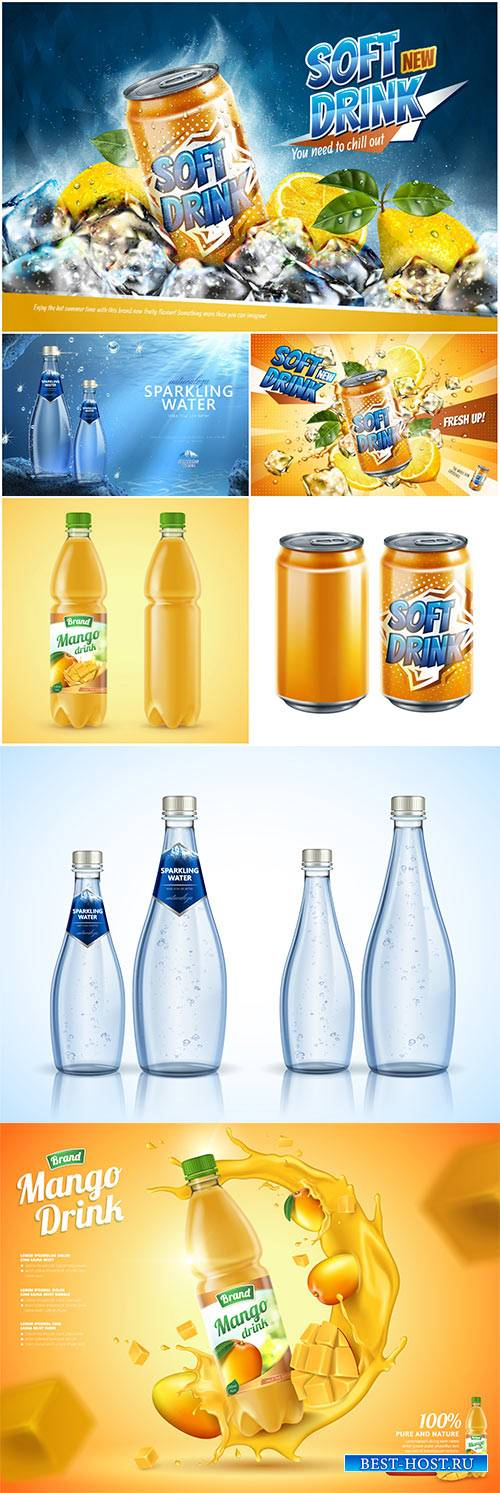 Soft drink ads, vector 3d illustration