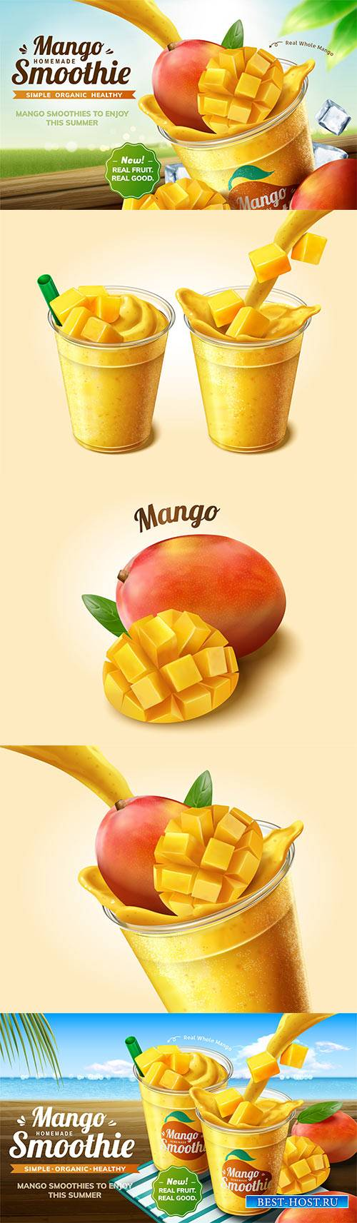 Summer mango smoothie ads, vector 3d illustration