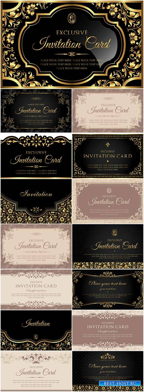 Invitation luxury vector card design, black and gold vintage style