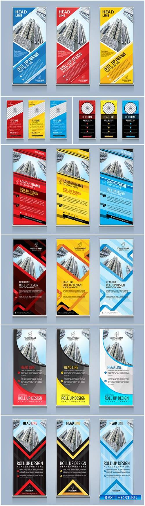 Roll up banners for web and advertisement print out, vector flyer handout d ...