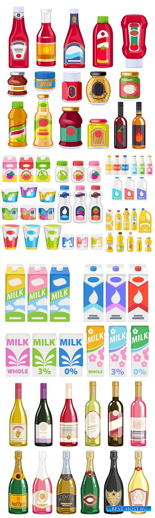Bottles vector set products packaging