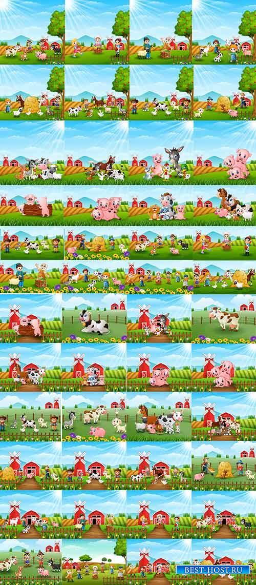 Лето на ферме - Векторный клипарт / Summer on farm - Vector Graphics