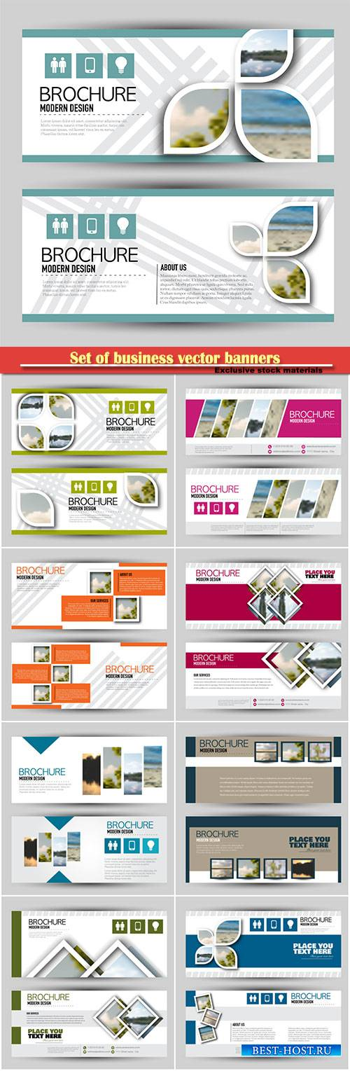 Set of business vector banners for web advertisement or site headers