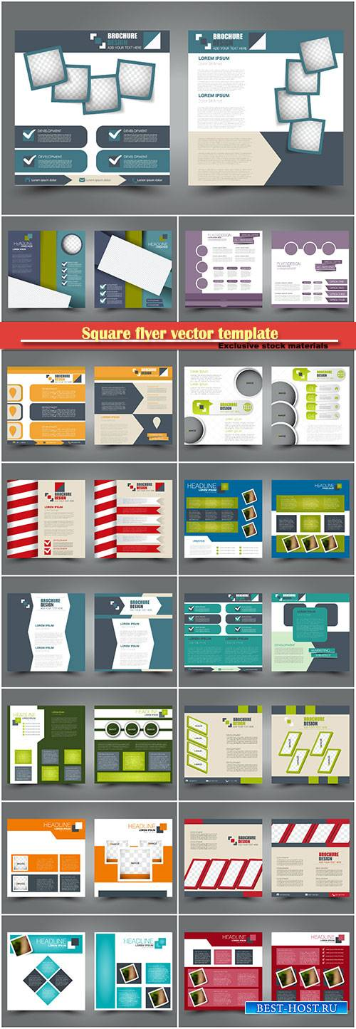 Square flyer vector template, simple brochure design for business and educa ...