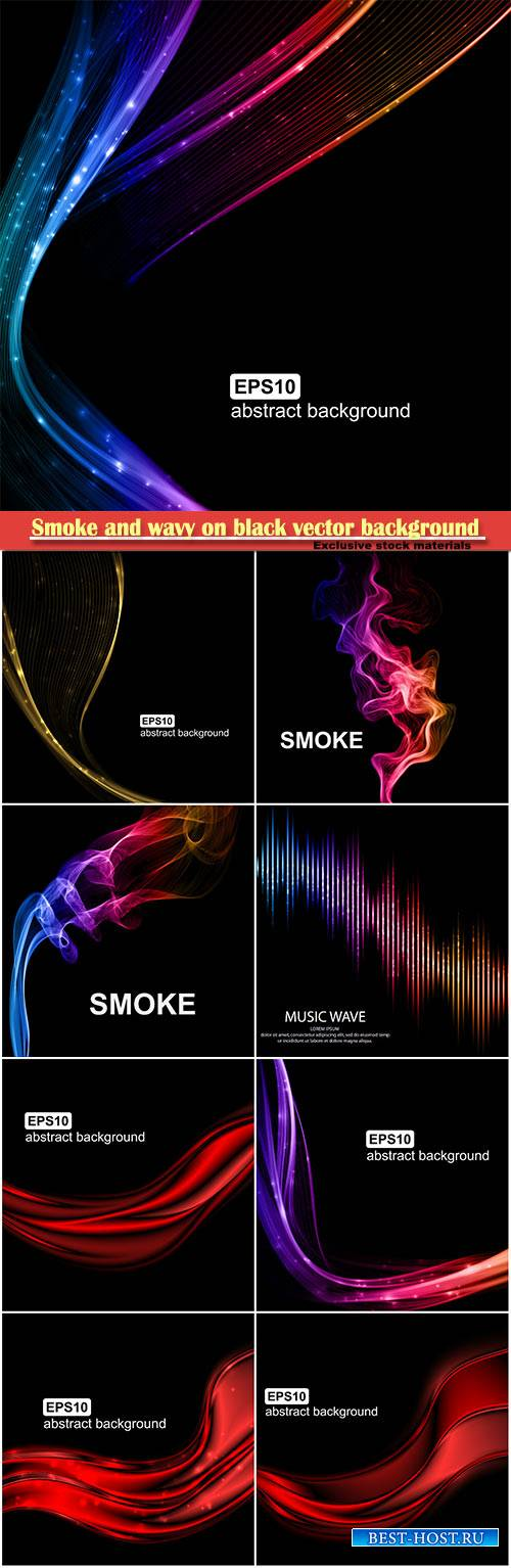 Smoke and wavy on black vector background