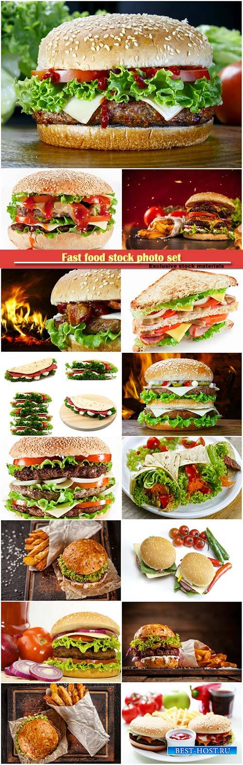 Fast food stock photo set