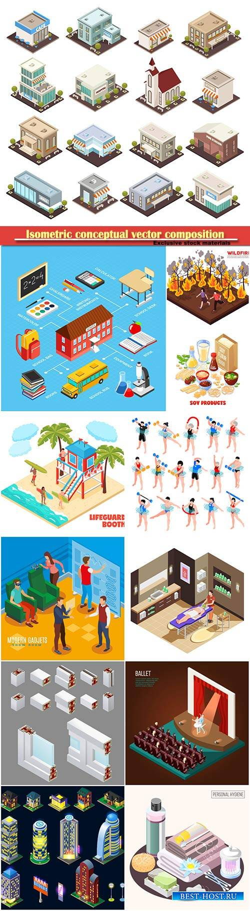 Isometric conceptual vector composition, infographics template # 22