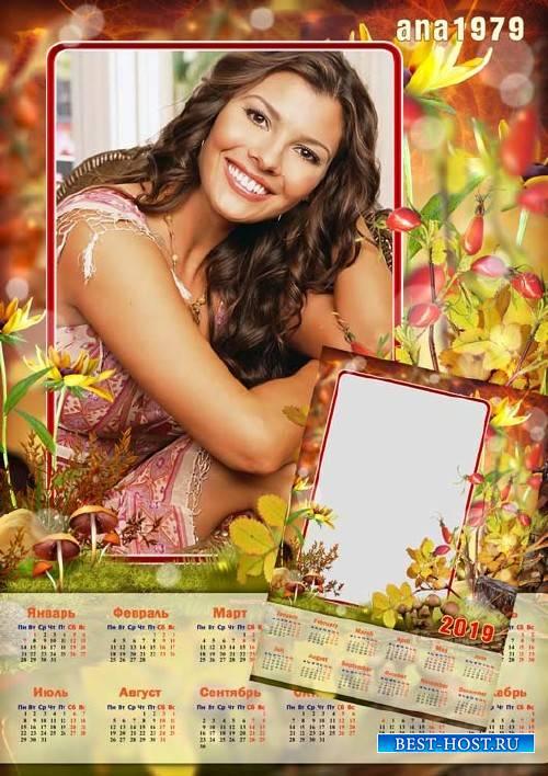 Календарь для фотошопа – Осенний солнечный денек