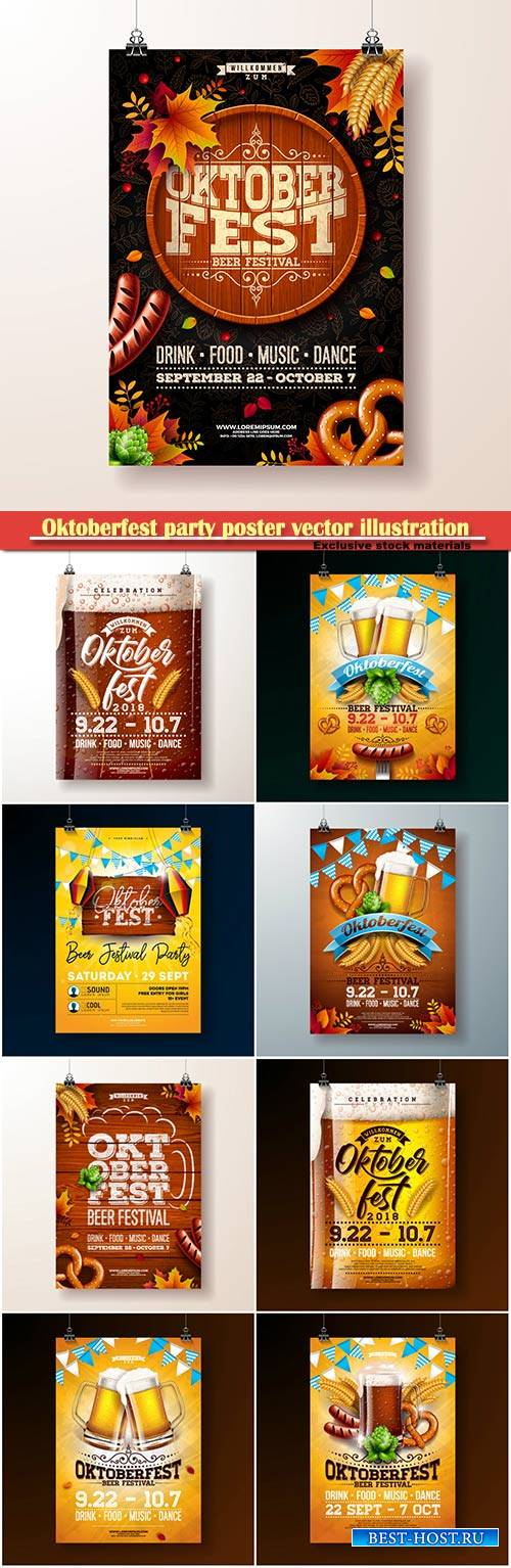 Oktoberfest party poster vector illustration, celebration flyer template fo ...