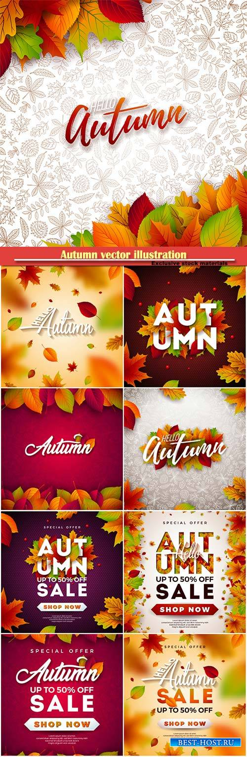 Autumn vector illustration with falling leaves