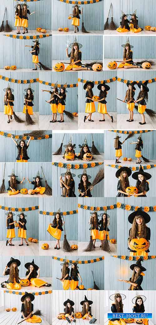 Девочки в костюмах Хэллоуин - Клипарт / Girls in Halloween Costumes - Clipa ...