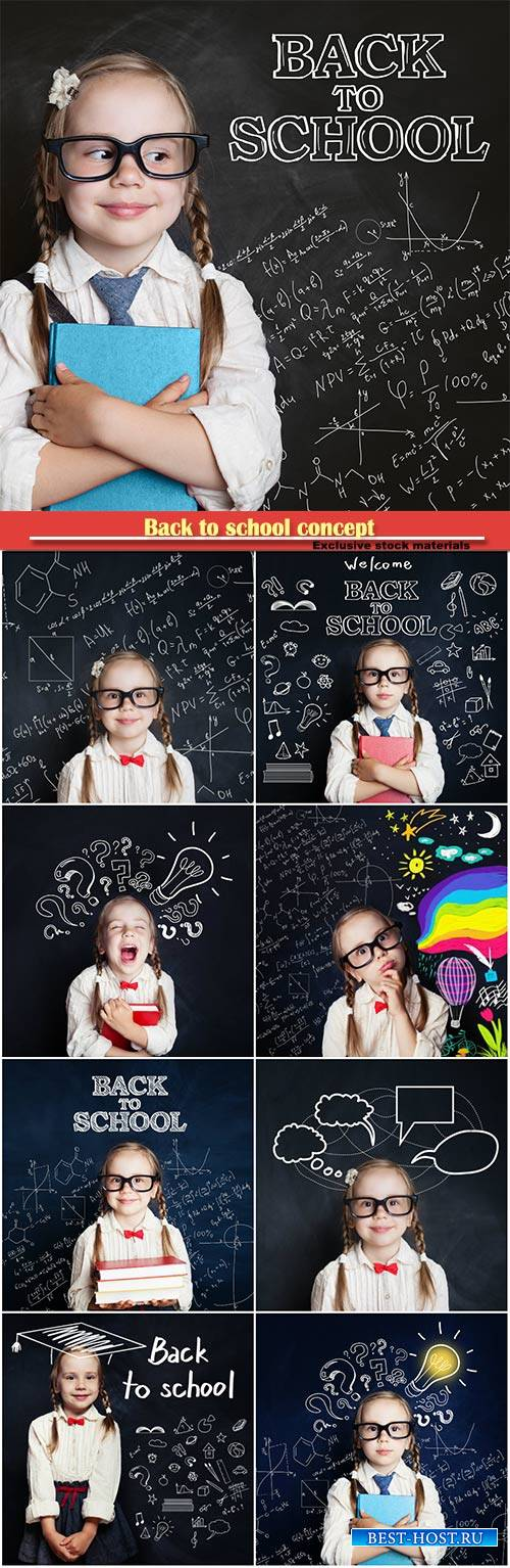 Back to school concept, little girl on chalk board background