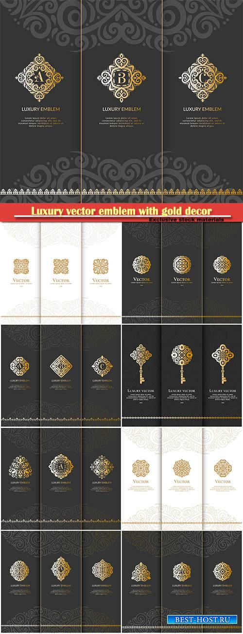 Luxury vector emblem with gold decor
