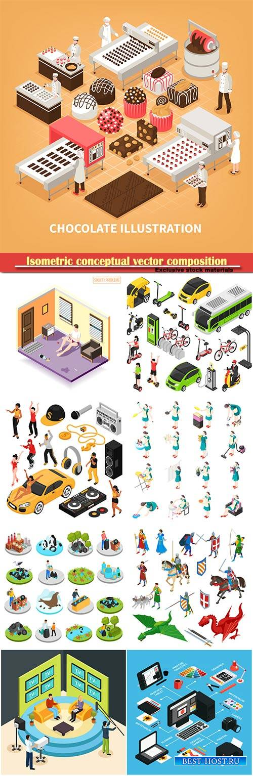 Isometric conceptual vector composition, infographics template # 32