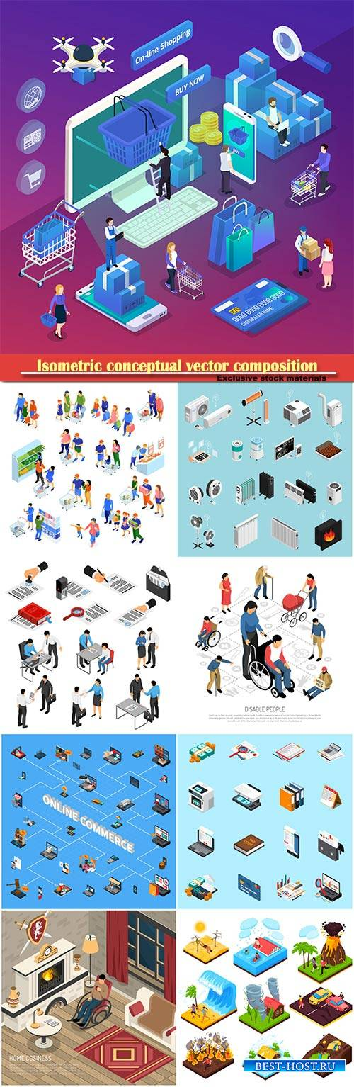 Isometric conceptual vector composition, infographics template # 31