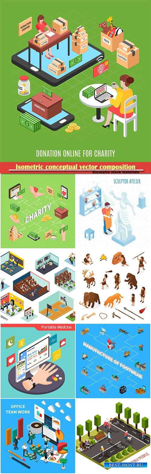 Isometric conceptual vector composition, infographics template # 34