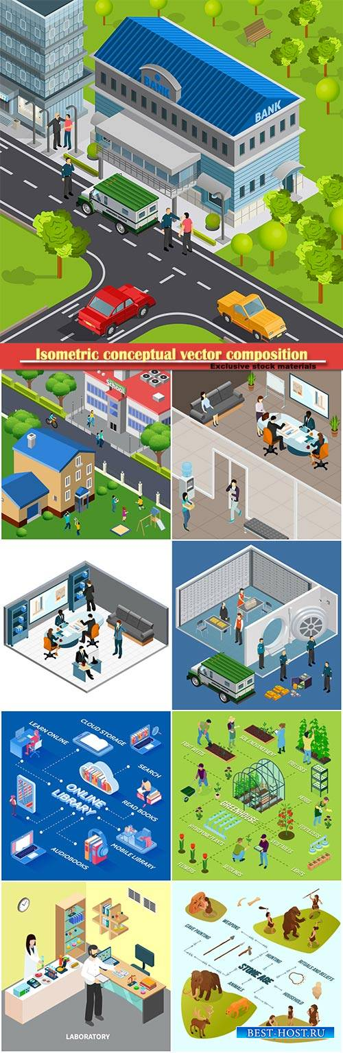 Isometric conceptual vector composition, infographics template # 36