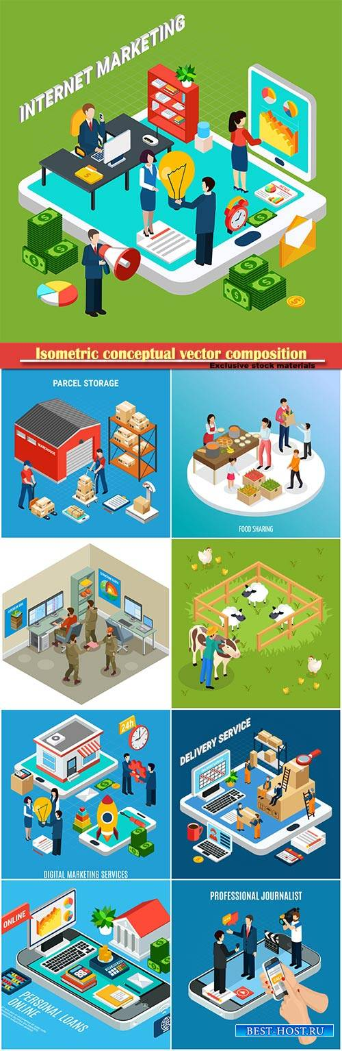 Isometric conceptual vector composition, infographics template # 33