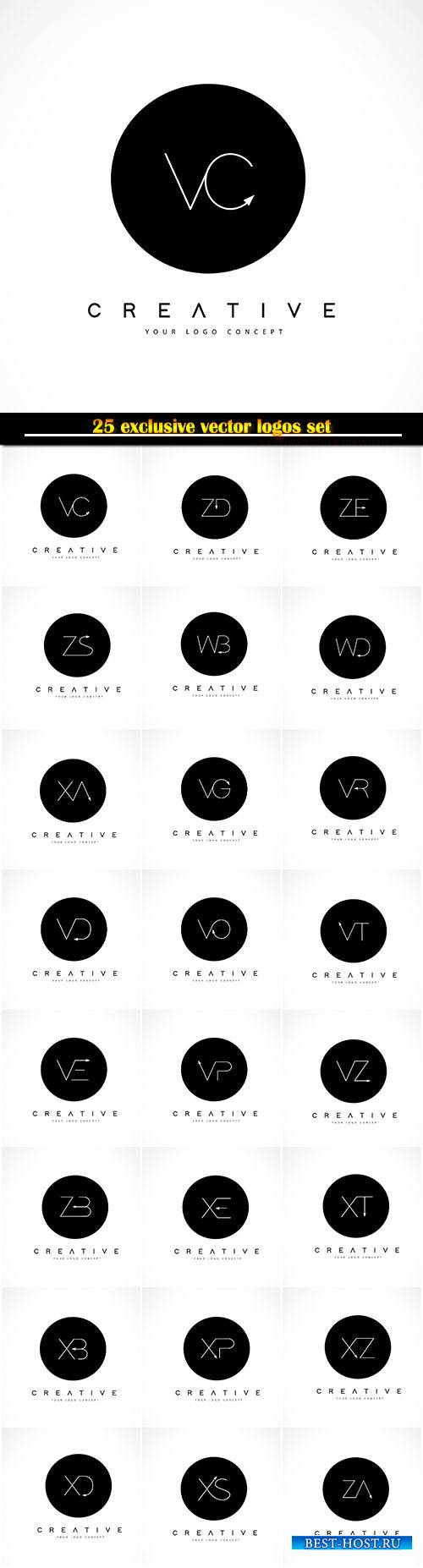 Logo vector design with black and white creative text letter