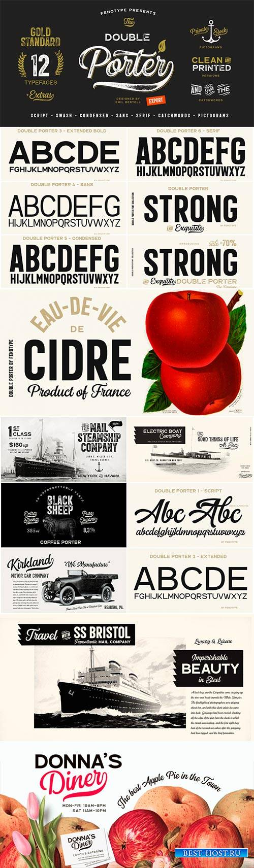 Double Porter Font Family - 18 Fonts