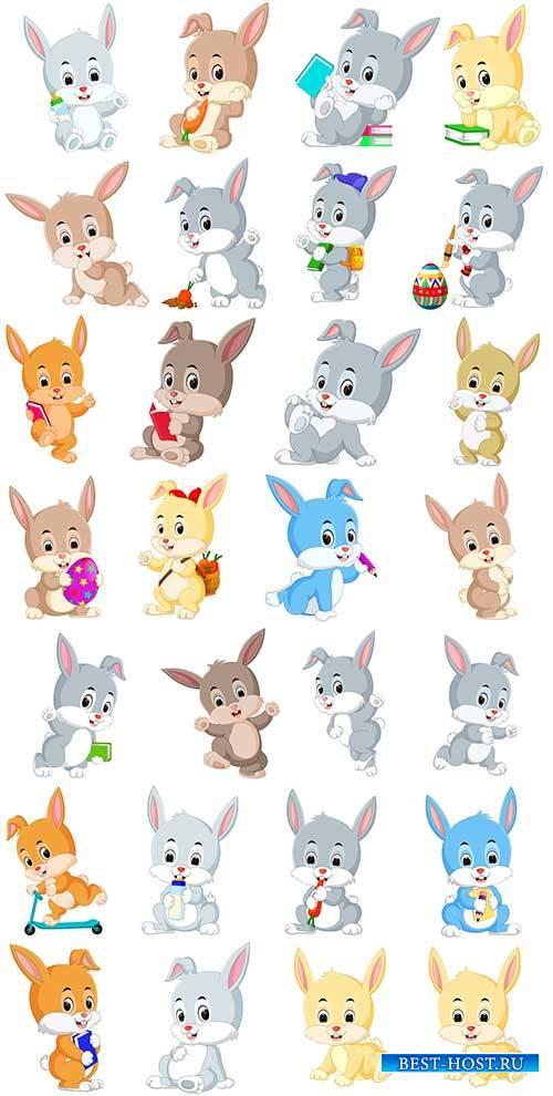 Симпатичные кролики в векторе / Cute rabbits in vector