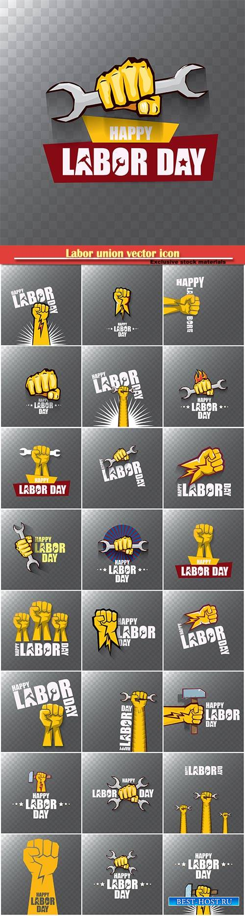 Labor union vector icon, banner with clenched fist isolated on transparent  ...