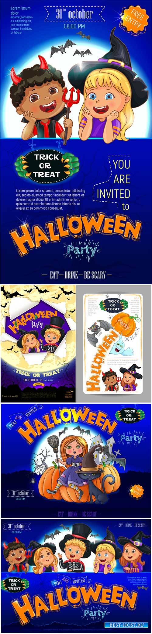 Halloween party design with cute kids invitation flyer