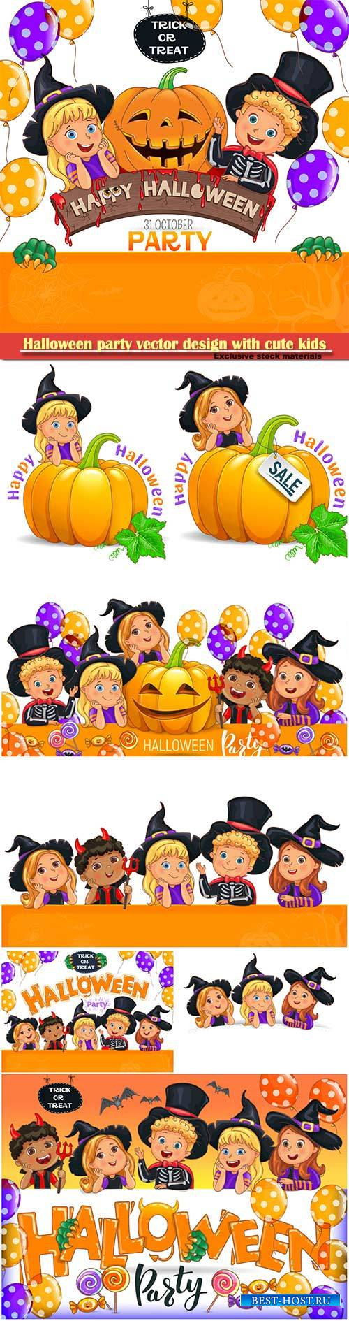 Halloween party vector design with cute kids
