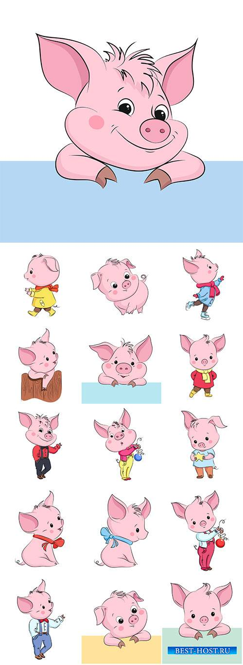 Cute little vector pig, cartoon vector character